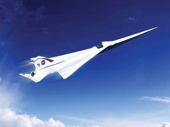This is an artist�s concept of a possible Low Boom Flight Demonstration Quiet Supersonic Transport (QueSST) X-plane design. Credits: Lockheed Martin